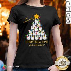 Premium 2020 Quarantine Christmas Toilet Paper Tree V-neck - Design By Agencetees.com