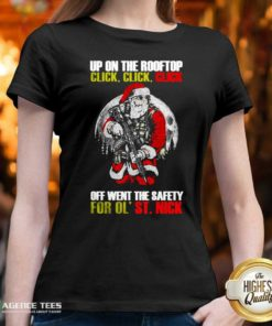 Santa Claus Up On The Rooftop Click Click Click Off Went The Safety For Ol St Nick V-neck - Design By Agencetees.com