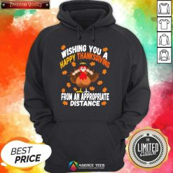 Wishing You A Happy Thanksgiving From An Appropriate Distance Turkey Social Distancing Hoodie - Design By Agencetees.com