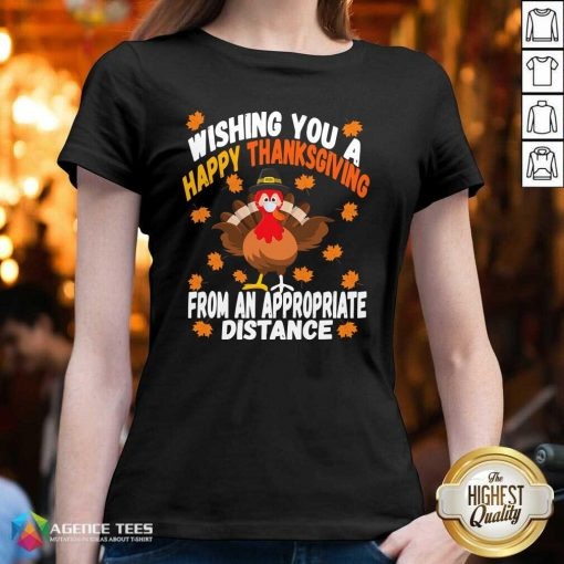Wishing You A Happy Thanksgiving From An Appropriate Distance Turkey Social Distancing V-neck - Design By Agencetees.com