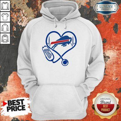 Amused Buffalo Bills Nurse 1 Heart Hoodie - Design by Agencetees.com