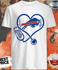 Amused Buffalo Bills Nurse 1 Heart Shirt - Design by Agencetees.com
