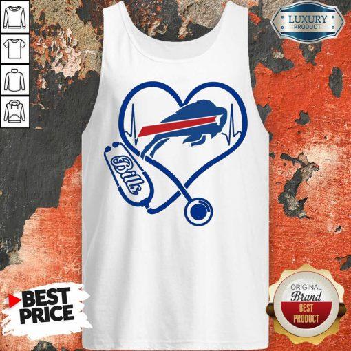 Amused Buffalo Bills Nurse 1 Heart Tank Top - Design by Agencetees.com