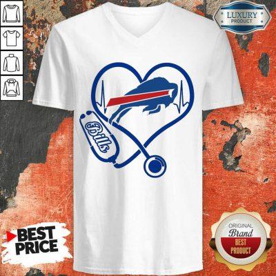 Amused Buffalo Bills Nurse 1 Heart V-neck - Design by Agencetees.com