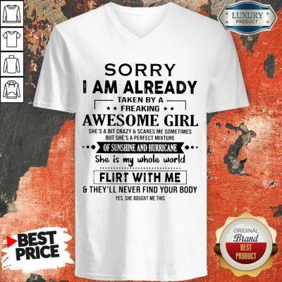 Annoyed I Am Awesome Girl Scares Me 1 V-neck