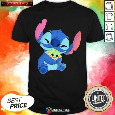 Awesome Baby Stitch Hug Baby Yoda Shirt - Design By Agencetees.com