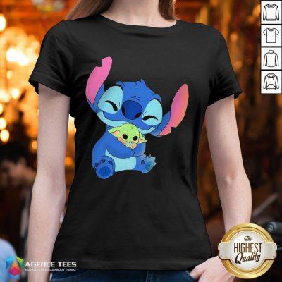 Awesome Baby Stitch Hug Baby Yoda V-neck - Design By Agencetees.com