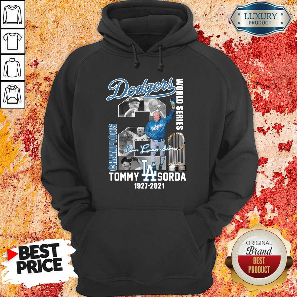 Confident LA Dodgers World Series Champions 2 Tommy Lasorda Hoodie - Design by Agencetees.com