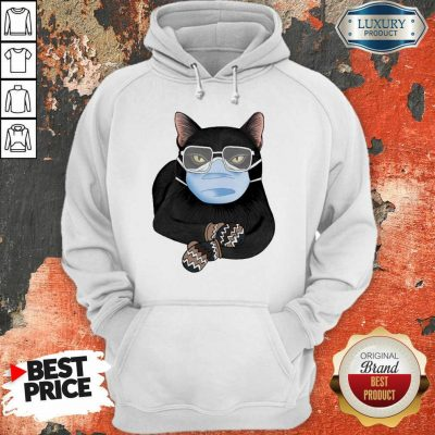 Cross Covid 19 Black Cat Face Mask 2021 Hoodie - Design by Agencetees.com