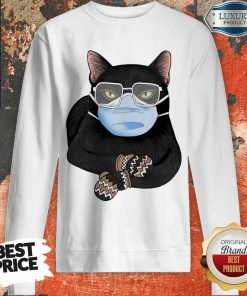 Cross Covid 19 Black Cat Face Mask 2021 Sweatshirt - Design by Agencetees.com