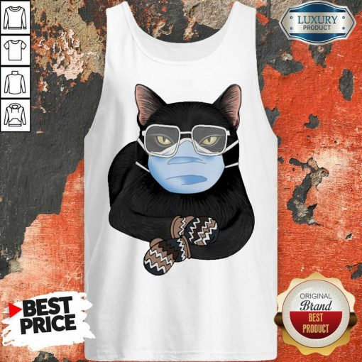 Cross Covid 19 Black Cat Face Mask 2021 Tank Top - Design by Agencetees.com