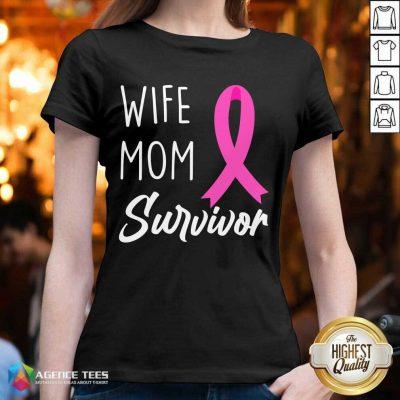 Cute Wife Mom Survivor Breast Cancer Awareness Fighter V-neck - Design By Agencetees.com