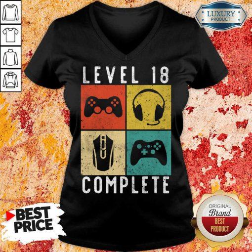 Emotional Level 18 Complete Gaming V-neck - Design by Agencetees.com
