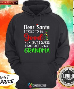 Good Dear Santa I Tried To Be Good But I Guess I Take After My Grandma Hoodie - Design By Agencetees.com