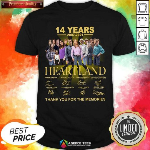 Good Heartland 14 Years 2007 2021 Thank You For The Memories Signatures Shirt