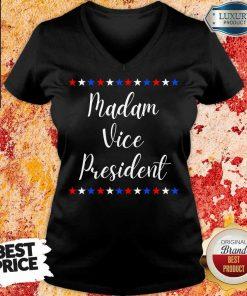 Intrigued Kamala Harris Madam Vice President 9 MVP Inauguration V-neck - Design by Agencetees.com