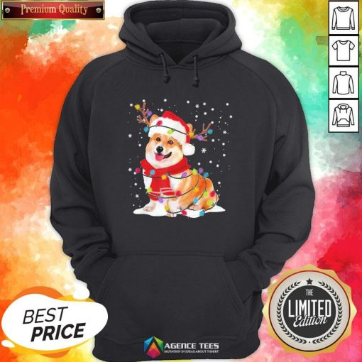 Nice Christmas Corgi Reindeer Lights Pajama Hoodie - Design By Agencetees.com