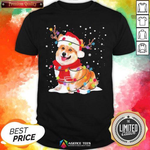 Nice Christmas Corgi Reindeer Lights Pajama Shirt - Design By Agencetees.com
