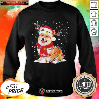 Nice Christmas Corgi Reindeer Lights Pajama Sweatshirt - Design By Agencetees.com