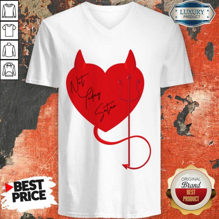 Surprised Satan Heart 4 Valentine V-neck - Design by Agencetees.com