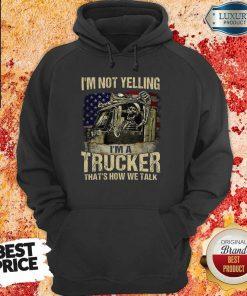 Tense A Trucker We Talk Skull American Flag 8 Hoodie