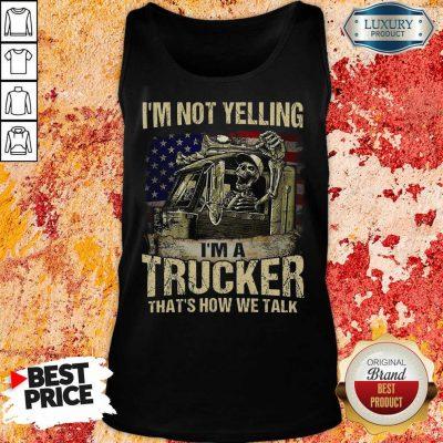Tense A Trucker We Talk Skull American Flag 8 Tank Top