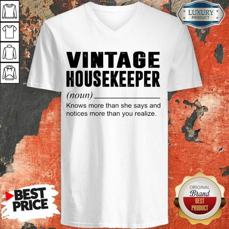 Terrific Vintage Housekeeper Noun Knows 5 V-neck