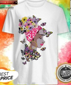 Top Breast Cancer Awareness Pink Ribbon Black Afro Women Butterflies And Flowers Shirt - Design By Agencetees.com