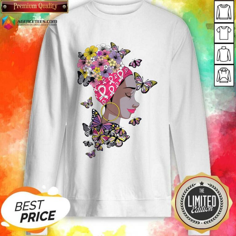 Top Breast Cancer Awareness Pink Ribbon Black Afro Women Butterflies And Flowers Sweatshirt - Design By Agencetees.com