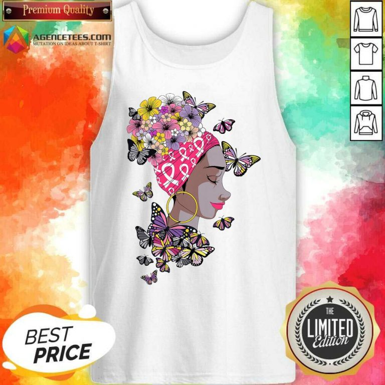 Top Breast Cancer Awareness Pink Ribbon Black Afro Women Butterflies And Flowers Tank Top - Design By Agencetees.com