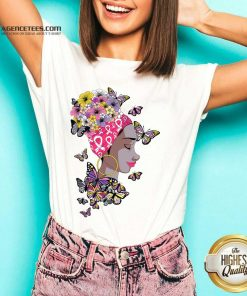 Top Breast Cancer Awareness Pink Ribbon Black Afro Women Butterflies And Flowers V-neck - Design By Agencetees.com