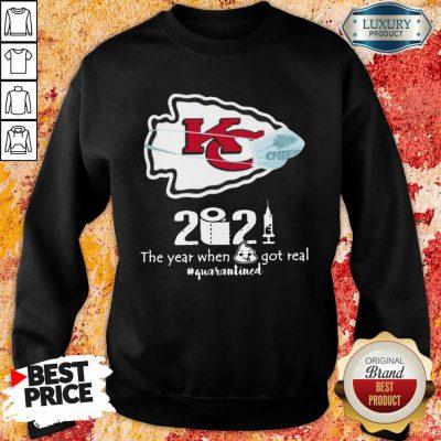 Wonderful Kansas City Chiefs Face Mask 2021 Toilet Paper Quarantined Sweatshirt - Design by Agencetees.com