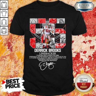 Worried 55 Derrick Brooks Linebacker 7 Thanks For The Memories Signature Shirt - Design by Agencetees.com