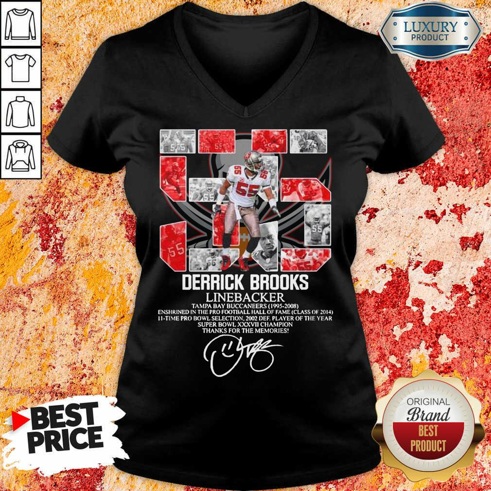 Worried 55 Derrick Brooks Linebacker 7 Thanks For The Memories Signature V-neck - Design by Agencetees.com
