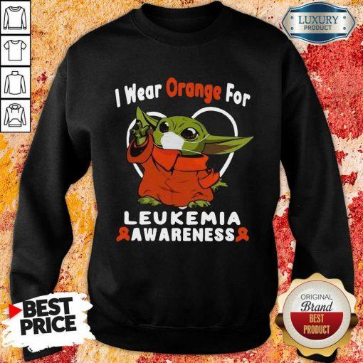 Worried Baby Yoda I Wear Orange For 6 Leukemia Awareness Sweatshirt - Design by Agencetees.com