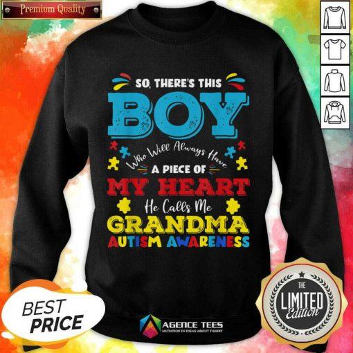 Boy Calls Me Grandma 9 Autism Awareness Sweatshirt - Design by Agencetees.com