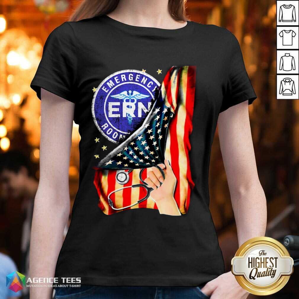 Hot Emergency Room And American Flag V-neck
