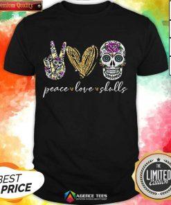 Hot Peace Love And Skulls Diamond Shirt