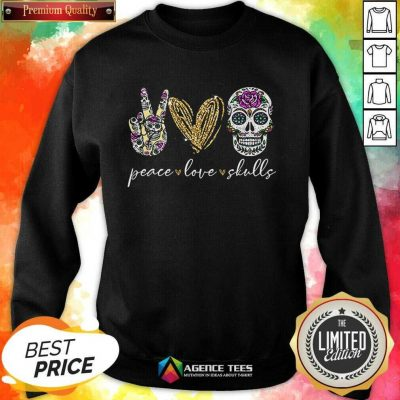 Hot Peace Love And Skulls Diamond Sweatshirt