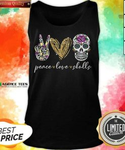 Hot Peace Love And Skulls Diamond Tank Top