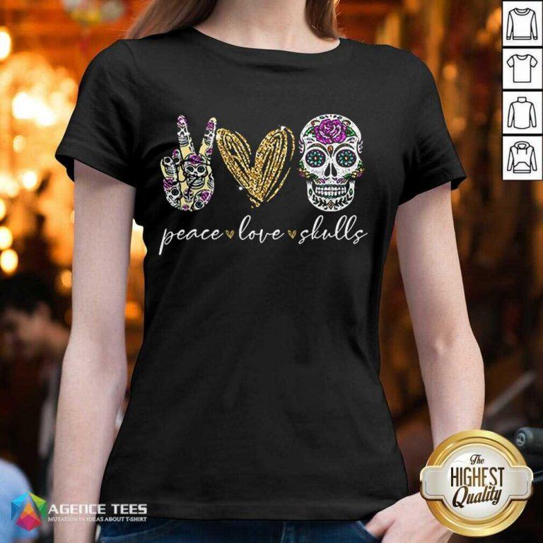 Hot Peace Love And Skulls Diamond V-neck