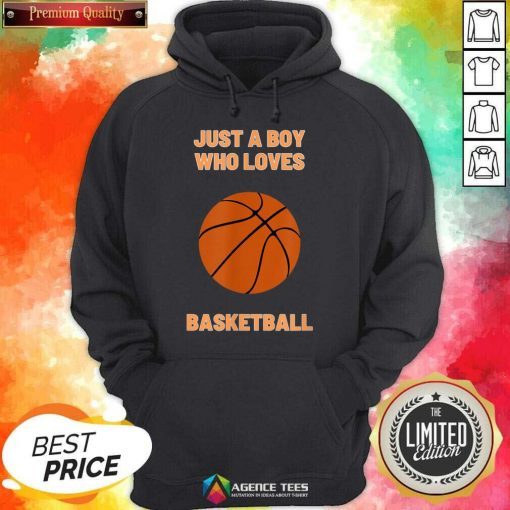 Just A Boy Who Loves 1 Basketball Hoodie - Design by Agencetees.com