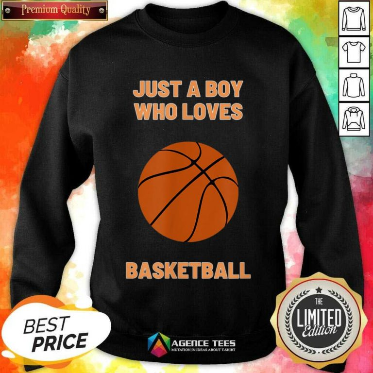 Just A Boy Who Loves 1 Basketball Sweatshirt - Design by Agencetees.com