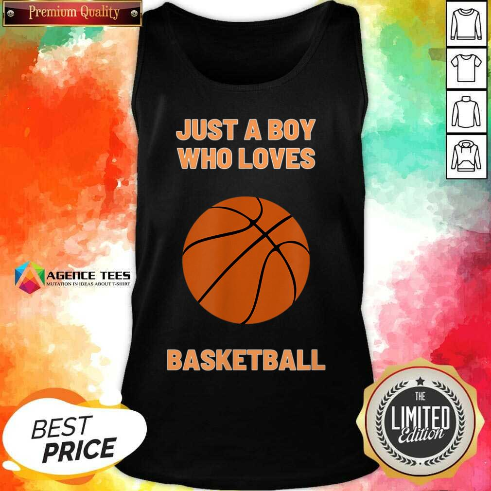 Just A Boy Who Loves 1 Basketball Tank Top - Design by Agencetees.com