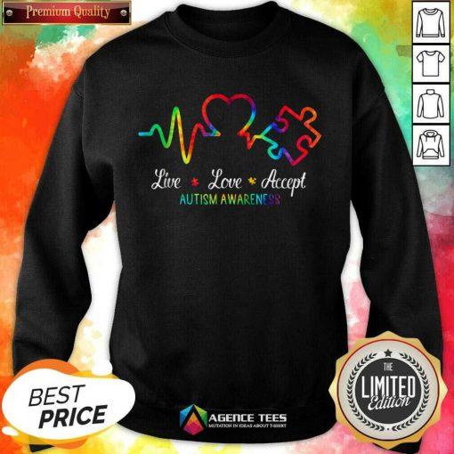 Live Love Accept 2 Autism Awareness Tie Dye Sweatshirt - Design by Agencetees.com