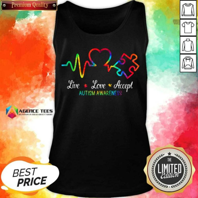 Live Love Accept 2 Autism Awareness Tie Dye Tank Top - Design by Agencetees.com