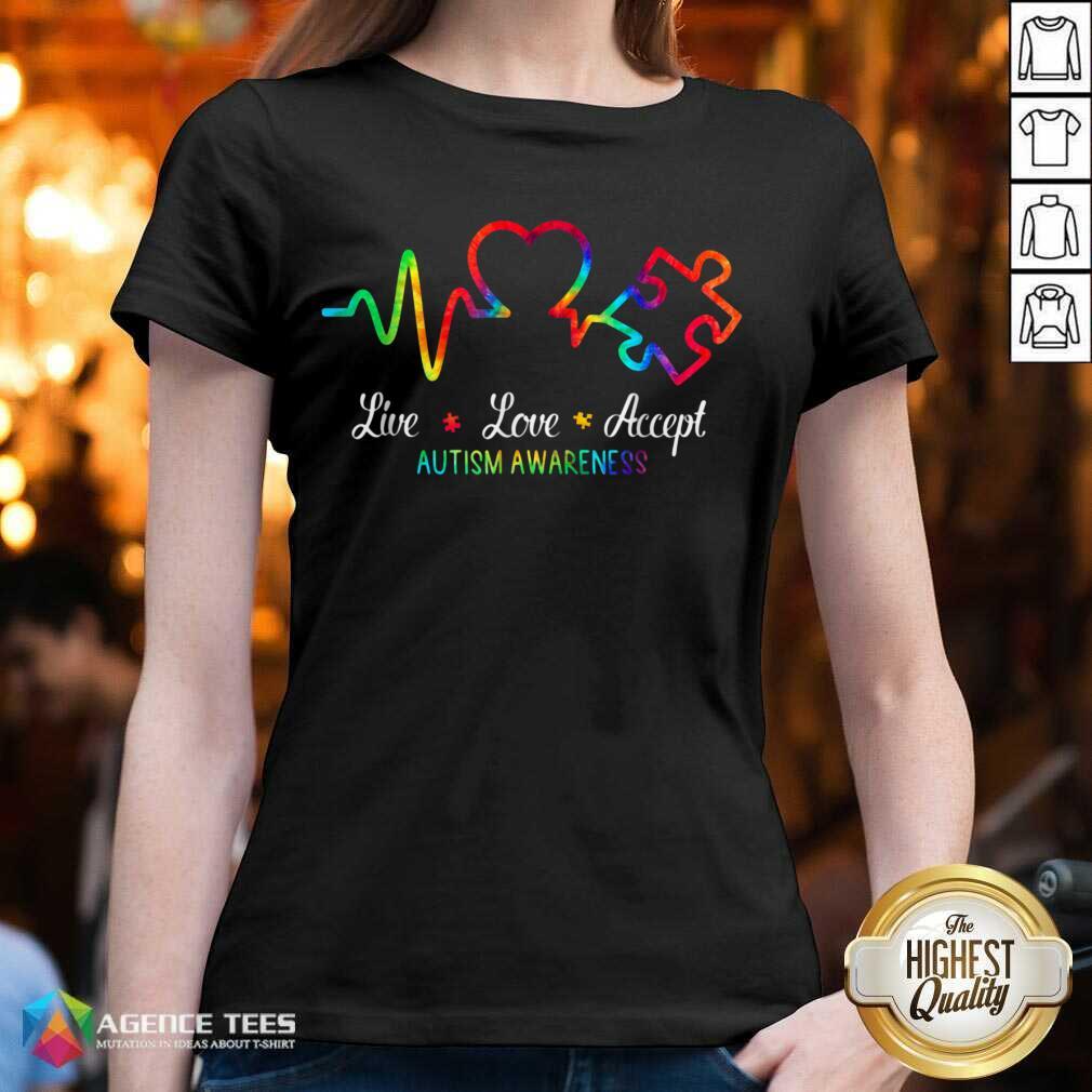 Live Love Accept 2 Autism Awareness Tie Dye V-neck - Design by Agencetees.com
