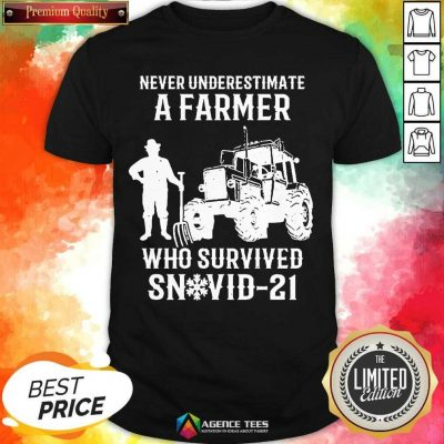 Never Underestimate A Farmer Who Survived Snovid 21 Shirt - Design by Agencetees.com