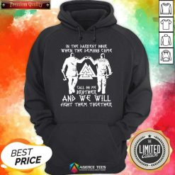 When The Demon Come Call On Brother 8 Viking Black Hoodie - Design by Agencetees.com