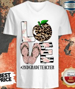 Apple Leopard Love 2nd Grade Teacher V-neck